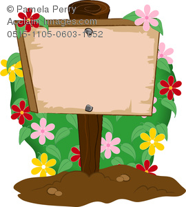 Clip Art Image of a Wooden Garden Sign With a Flowering Bush.
