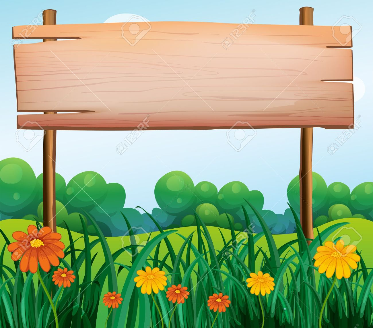 Illustration of a wooden signboard in the garden.
