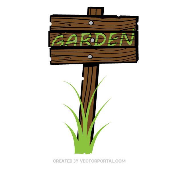 Garden Sign Graphics Free Vector.