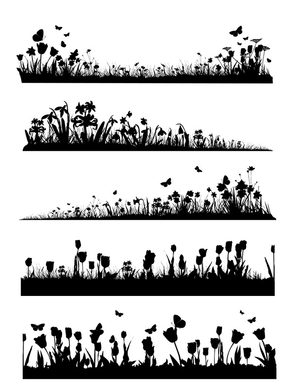 Spring silhouette clipart.