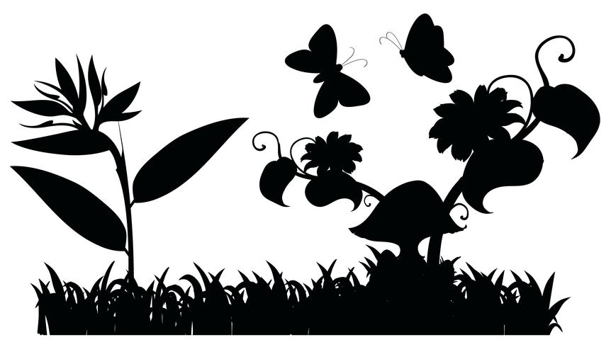Silhouette garden scene with butterflies.