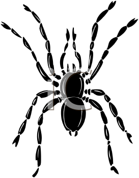 Royalty Free Clip Art Image: Silhouette of a Common House Spider.