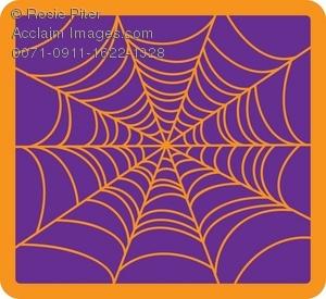 Clip Art Illustration of a Spider Web Background.