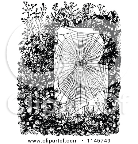 Clipart of a Retro Vintage Black and White Spider Web in a Garden.