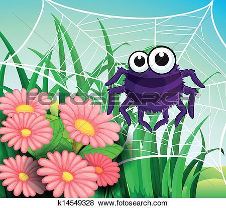 Clip Art of A spider web at the garden k14549328.