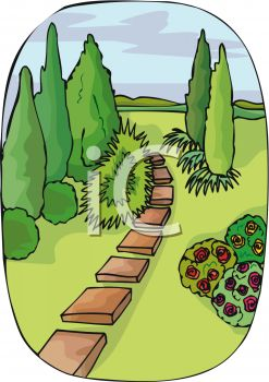 Garden paths and stepping stones clipart.