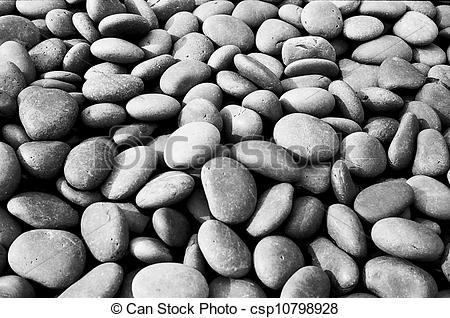 Clip Art of Black Stones In Garden.