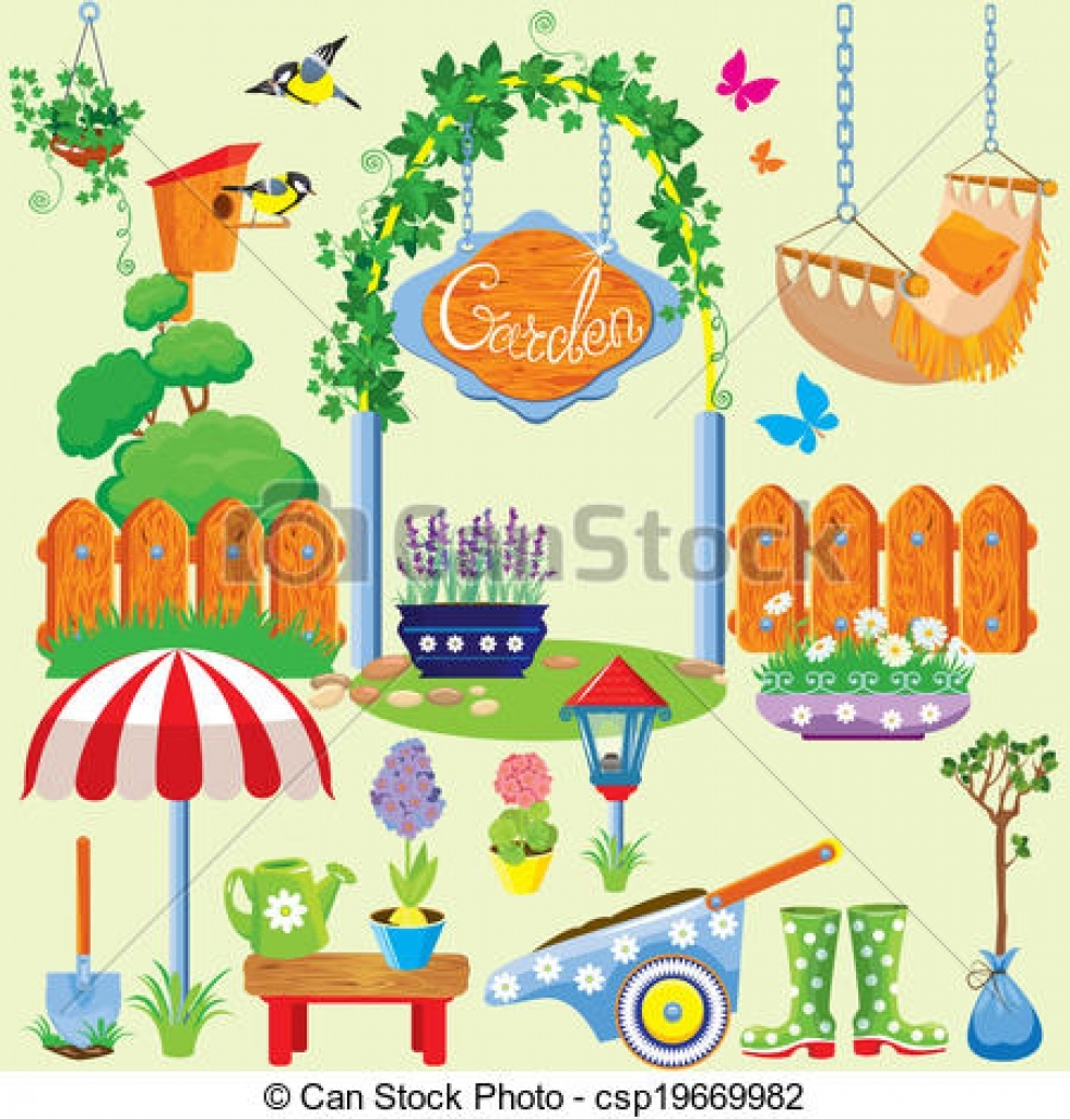 vector of spring and summer village and garden set with flowers.