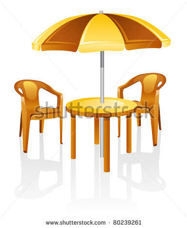 Garden Table Chairs Party Clipart Black White.