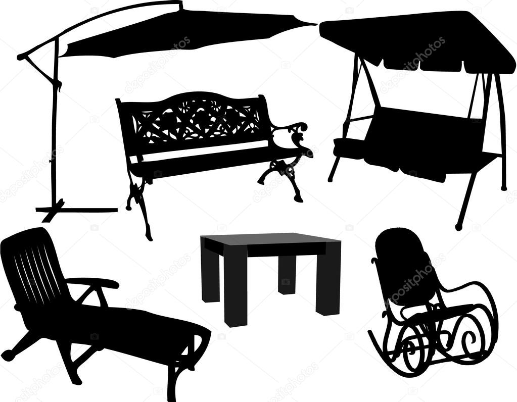Furniture for garden and terrace — Stock Vector © pablonis #6936665.