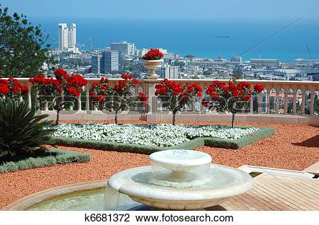 Stock Photo of Haifa view from Bahai temple garden terrace,Israel.