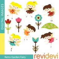 Clip art Retro Garden Fairy.