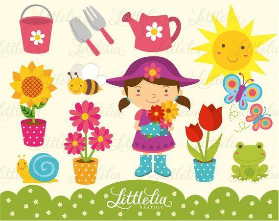 Spring cute Garden Clipart / instant download.