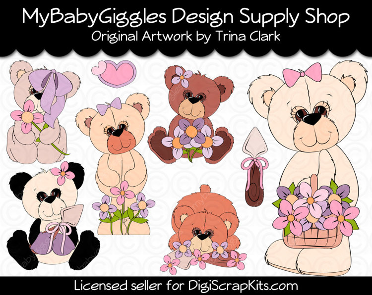 Garden Thyme Teddies Clip Art Digital Graphics by mybabygiggles.
