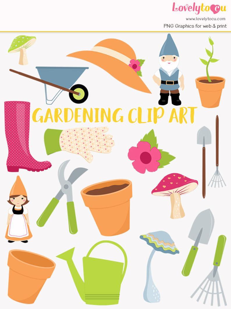 Gardening clipart, garden tools, gnomes, clay plant pots, wheelbarrow,  spring garden clip art (LC33).
