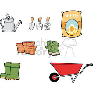 Gardening Tool Set clipart. Royalty.