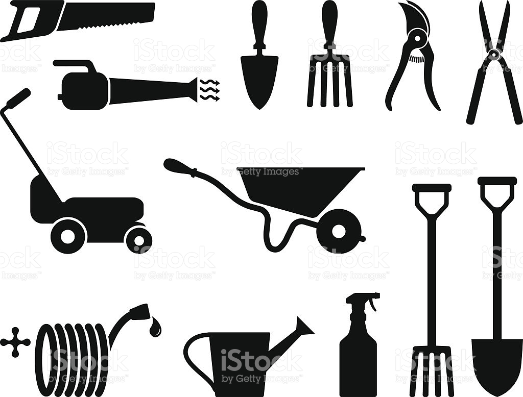 Gardening Tools Black And White stock vector art 116862274.