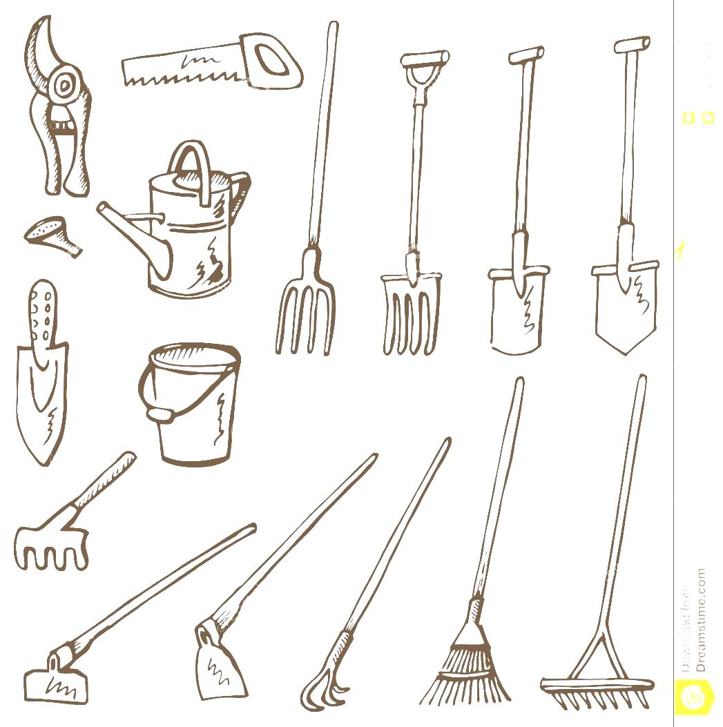 Hoe Clipart Stock Tools White Gardening Black Vectors Doodles And.