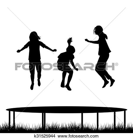 Drawings of Children silhouettes jumping on garden trampoline.