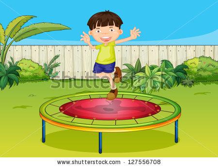 Illustration Boy Jumping On Trampoline Beautiful Stock Vector.