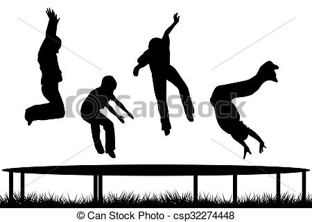 Drawing of Children silhouettes jumping on garden trampoline.