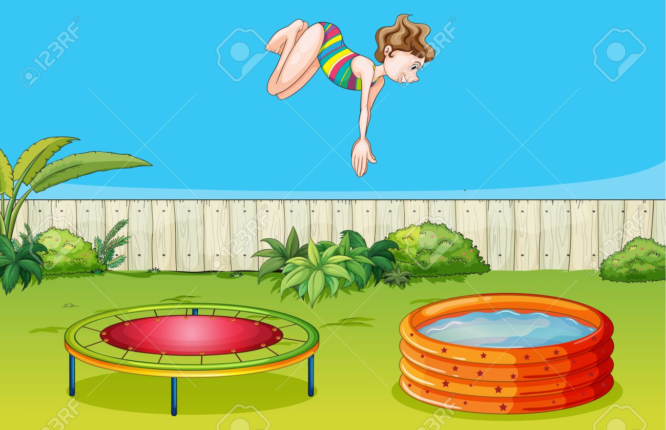 Illustration Of A Girl Playing Trampoline In A Beautiful Garden.