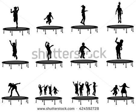Children Silhouettes Jumping On Garden Trampoline, Set Of Vector.