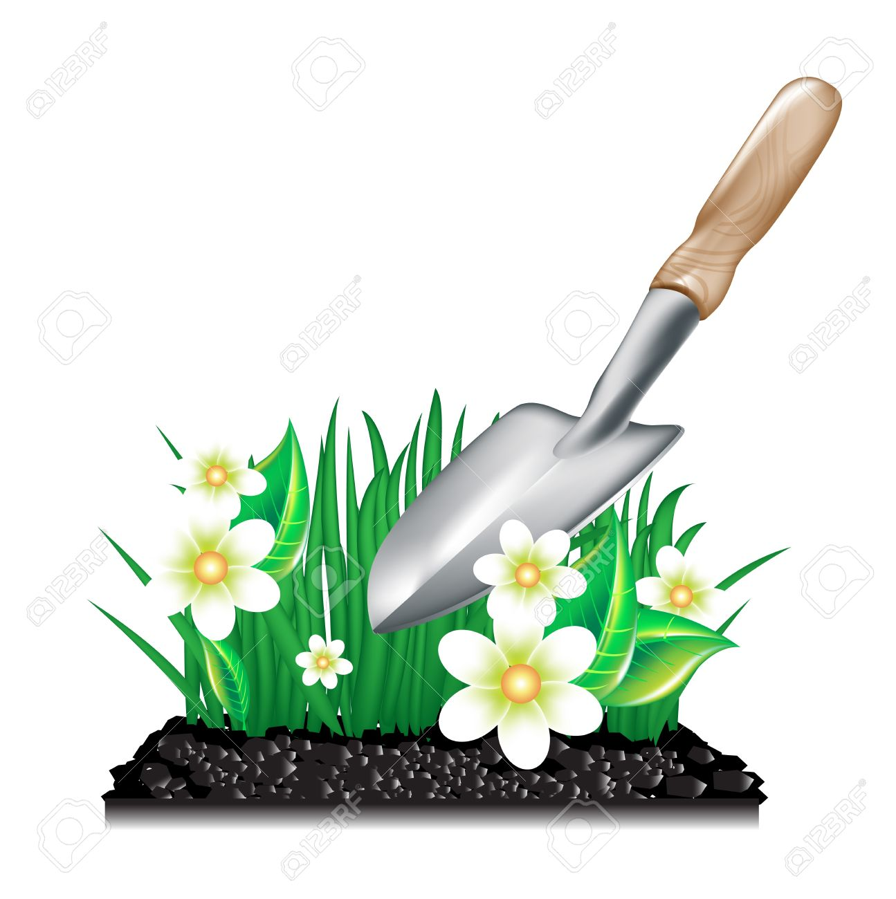 Grass With Ground And Garden Trowel On White Royalty Free Cliparts.