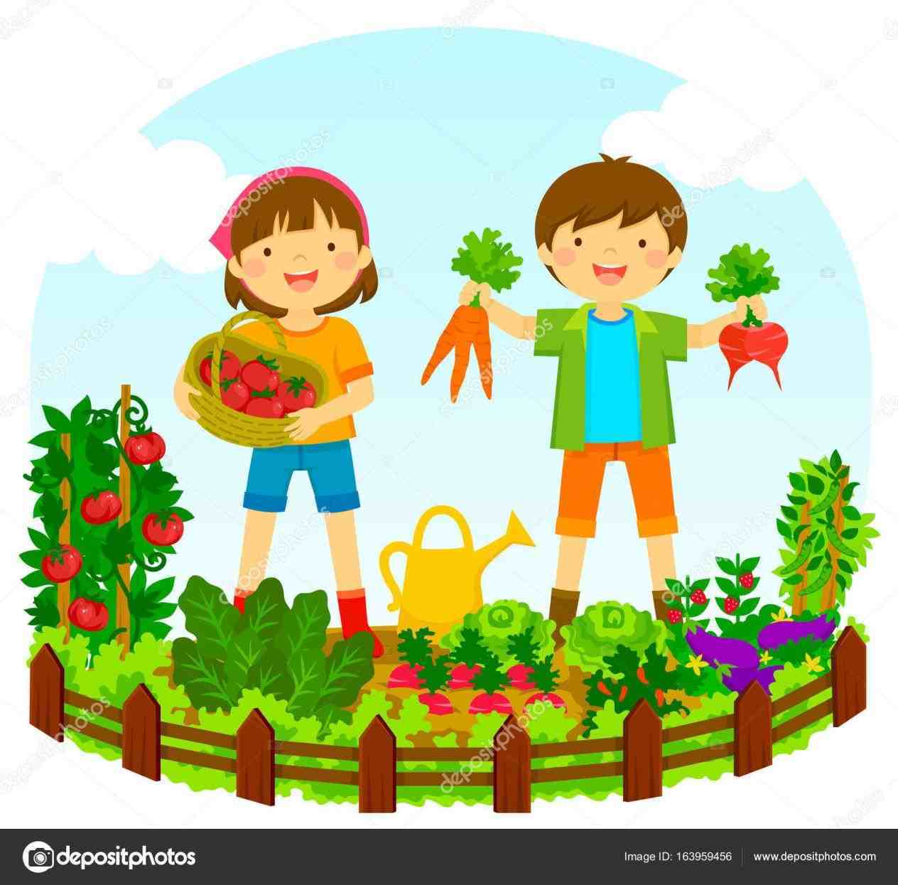 Kids Vegetable Garden Clipart.