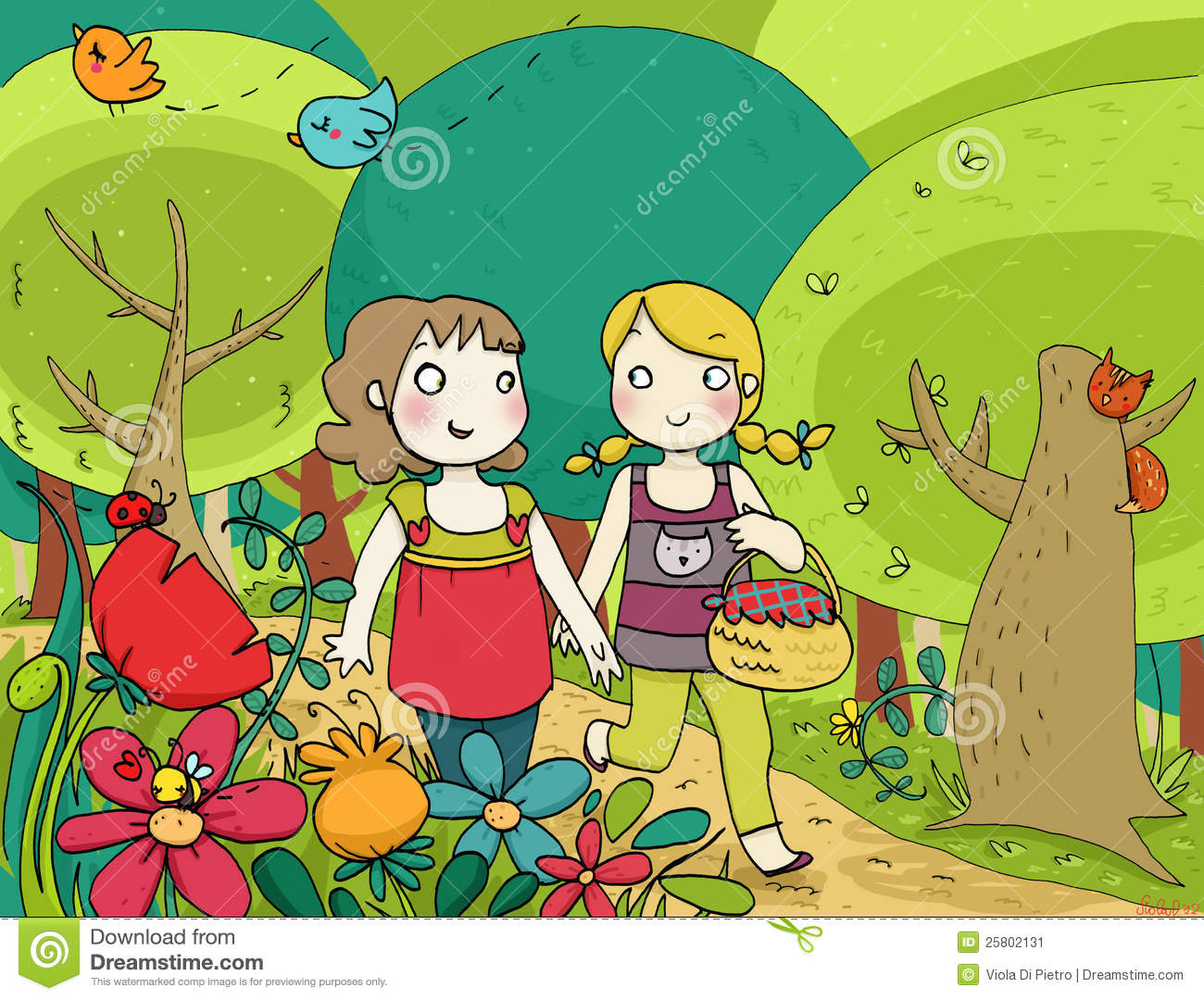 A Walk In The Garden Clipart.