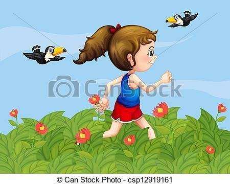 Clip Art Vector of A girl walking at the garden with birds.