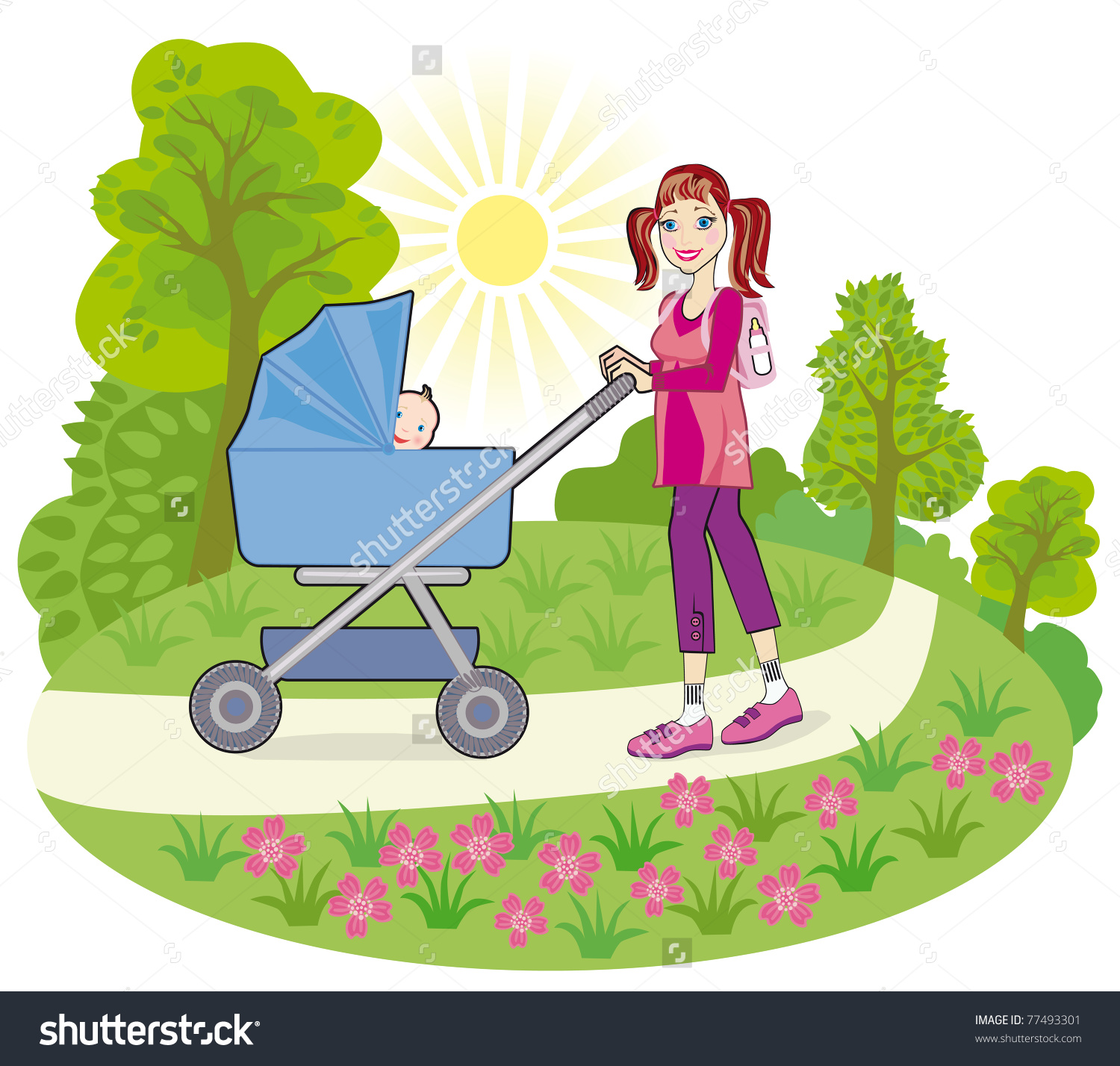 Young Happy Mother Baby Pram On Stock Vector 77493301.