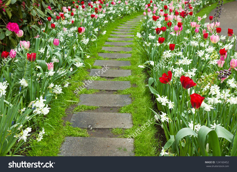 Stone Walk Way Winding Garden Stock Photo 124160452.