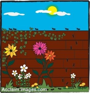 Clip Art of a Ants Crawling on a Brick Garden Wall.
