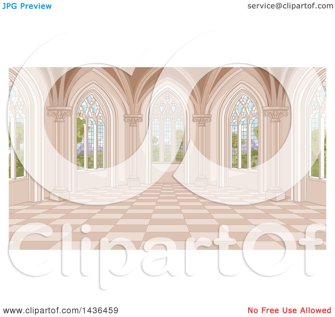 Clipart of a Medieval Castle Interior with Garden Windows.