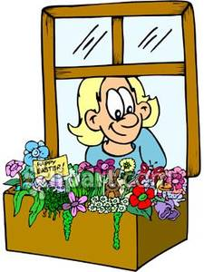 Window with flowers clipart.