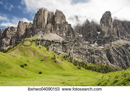 Stock Photo of Sella massif, view from Gardena Pass, Passo Gardena.