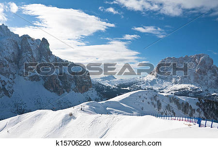 Stock Photography of Ski resort of Selva di Val Gardena, Italy.