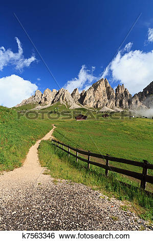 Stock Images of path in Gardena pass k7563346.