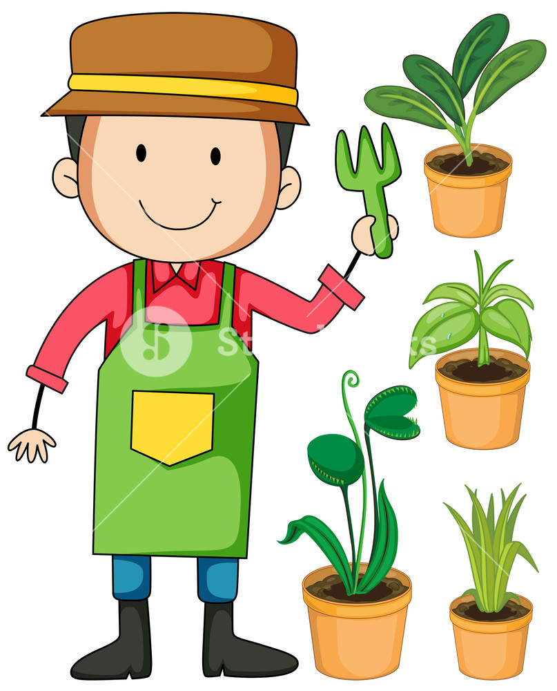 Gardener with potted plants illustration Royalty.