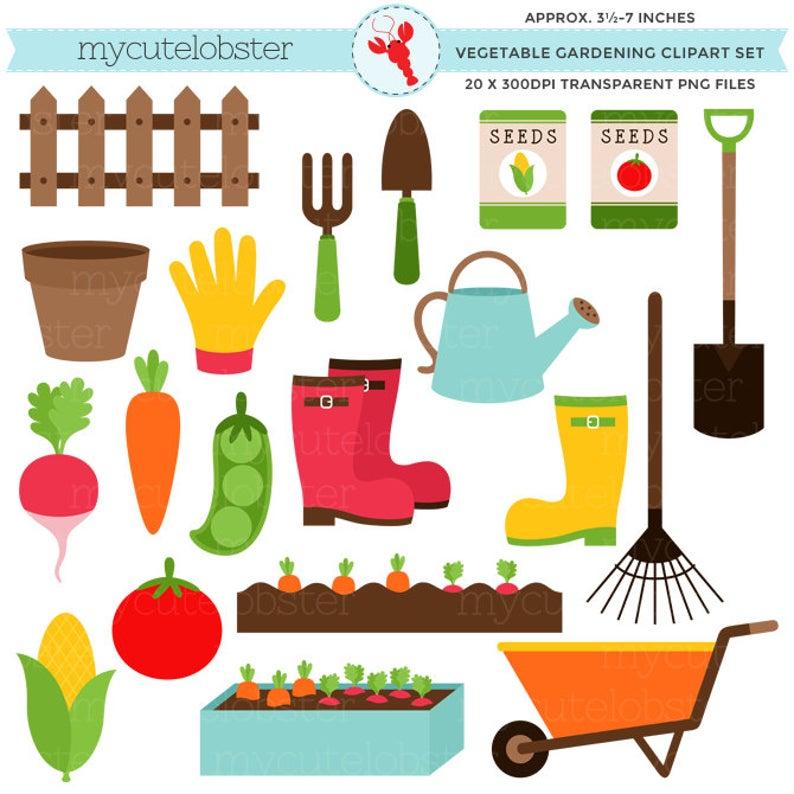 Vegetable Gardening Clipart Set.