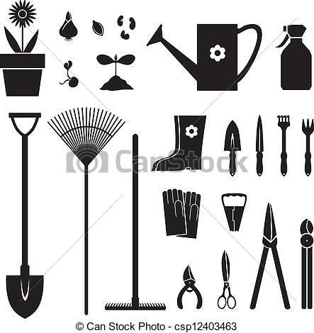 Clip Art Vector of Garden equipment set.