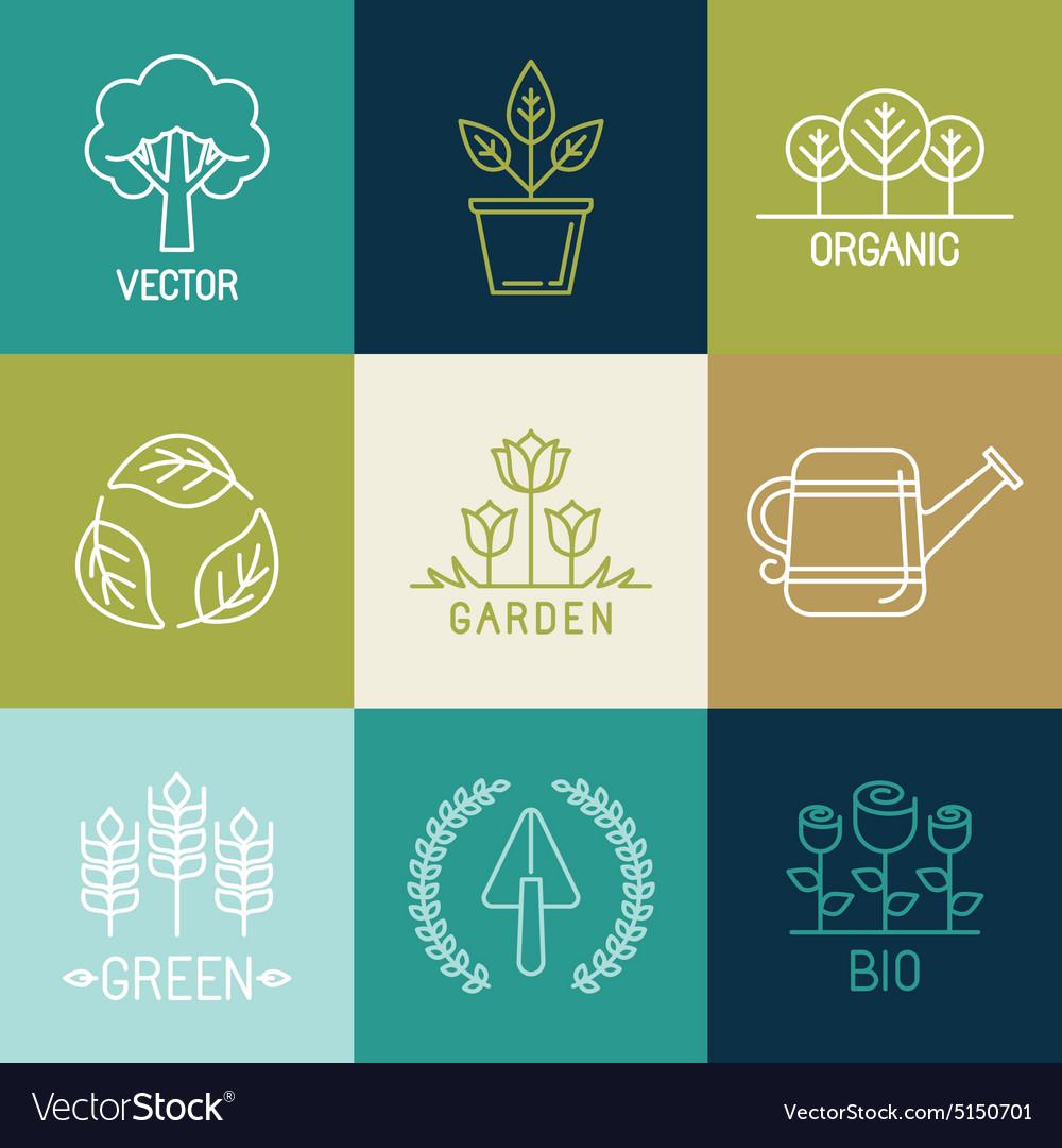 Gardening logo design elements.