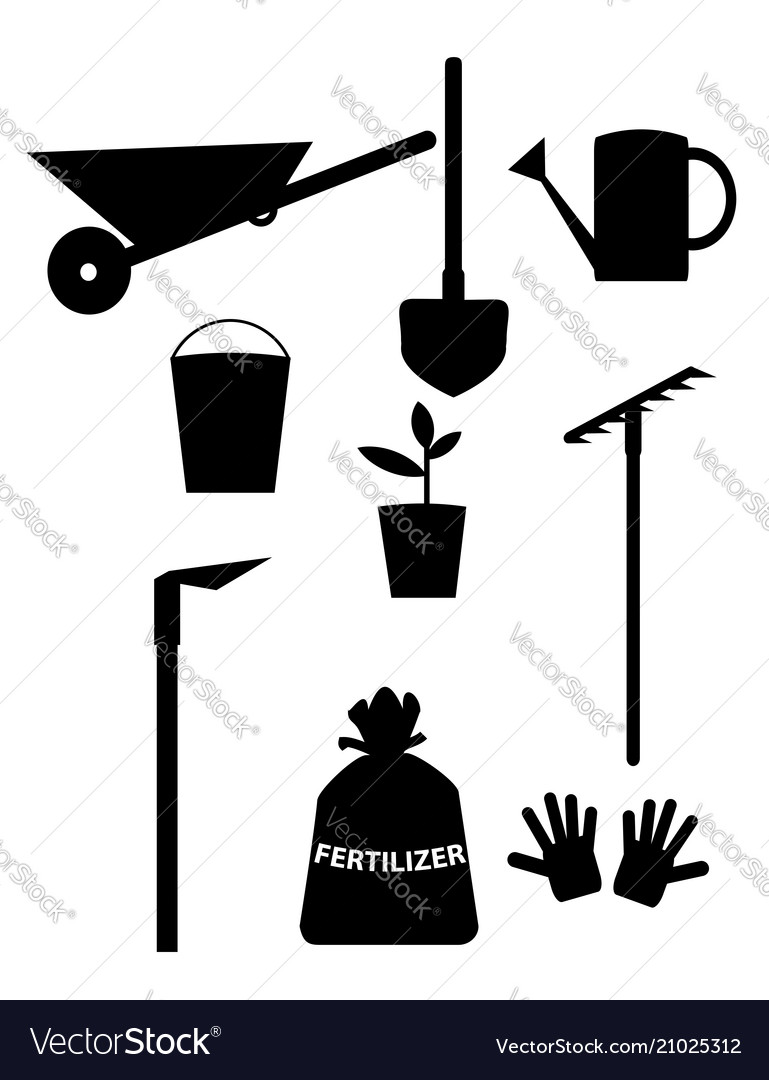 Garden tools and equipment clipart for design.