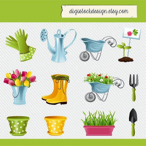 Garden Equipments Clipart. Carden Tool Clipart. Garden Clipart.