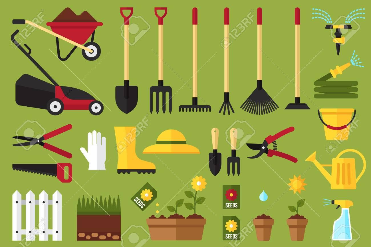 Colorful vector set of garden icons: garden tools, equipment,...