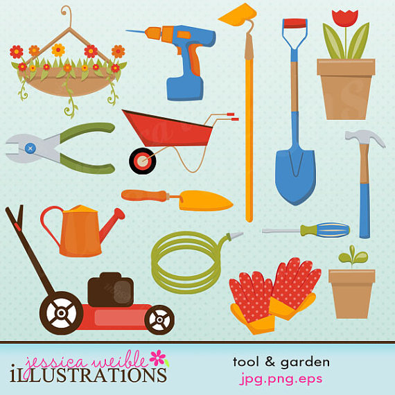 Gardening tools clipart.