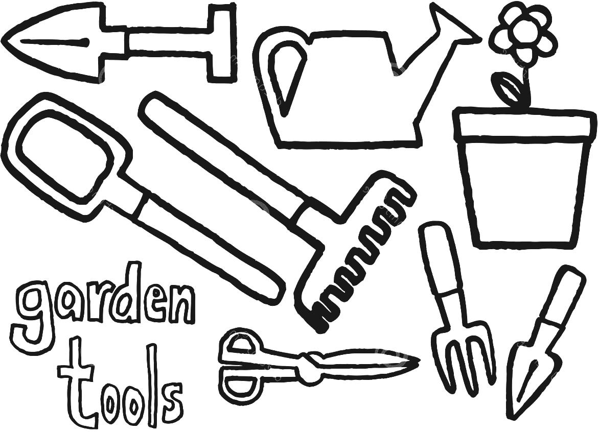 Classic Garden Urns This Post Gardening Tools Clipart Black And.
