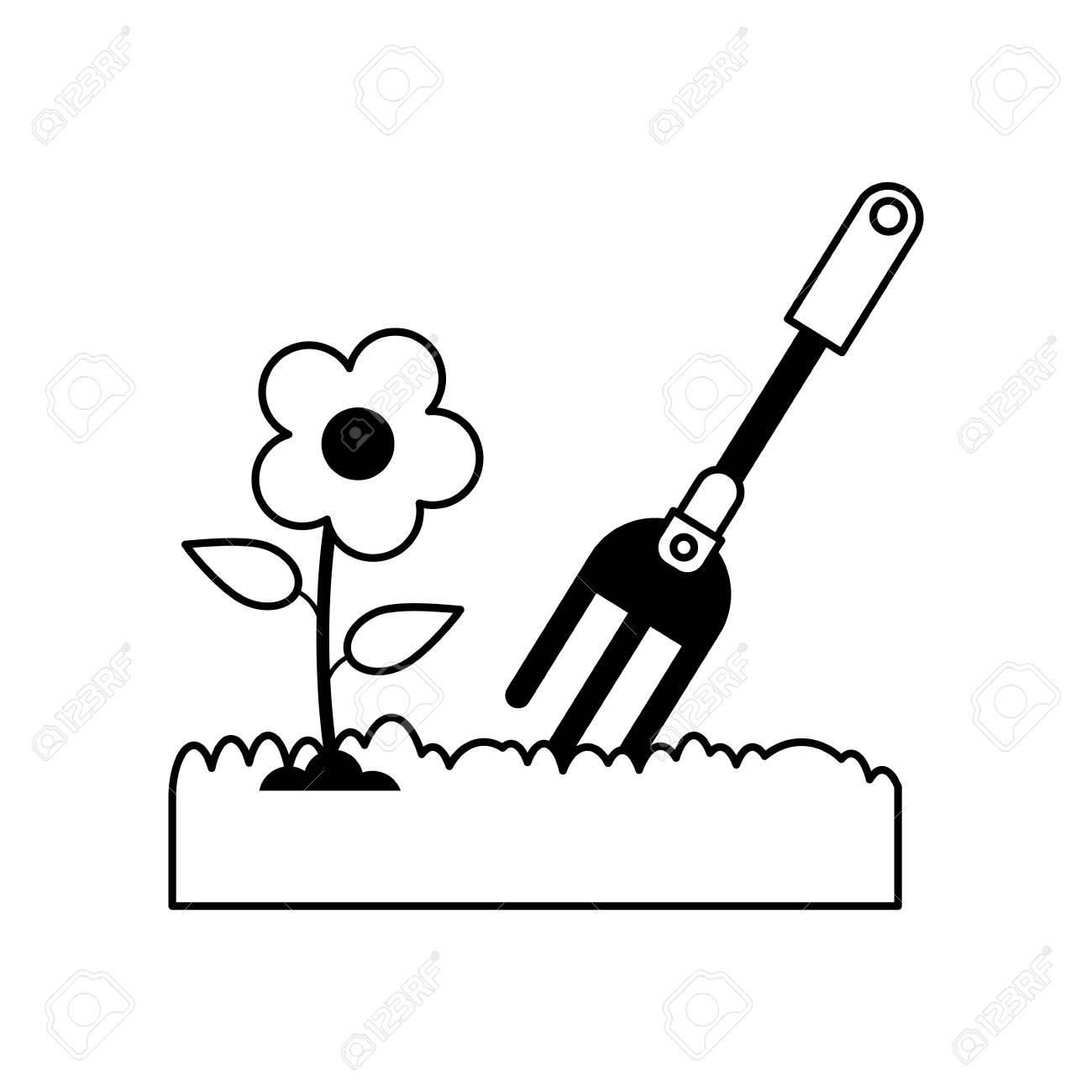 rake gardening tool icon image vector illustration design black...