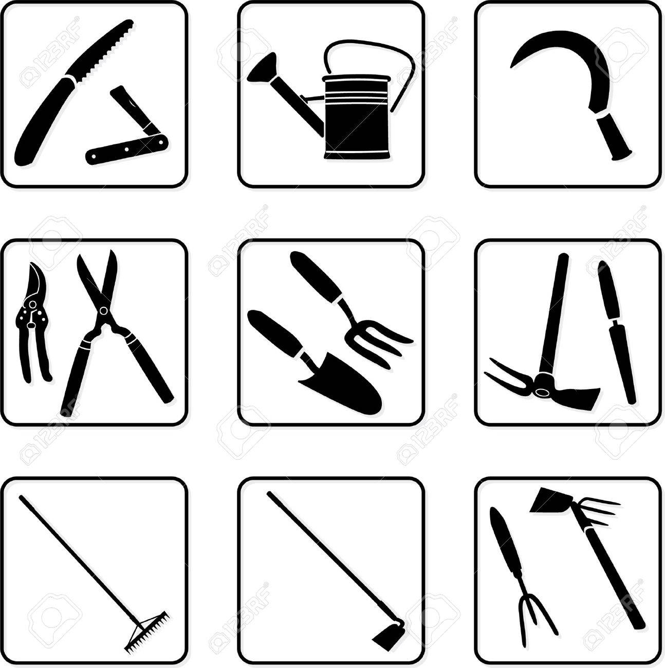 garden tools black and white silhouettes.